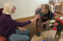 Izzy Hewitt visiting her Grandma Gillian Long at Holmesley Care Home in Sidmouth.