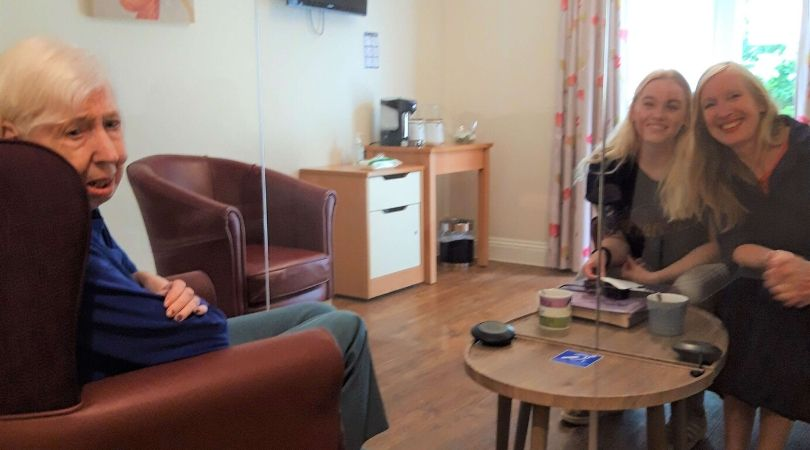 Sidmouth Residents have been reunited with loved-ones for the first time in months thanks to the 'Covid-secure' room.