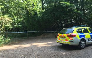 Police at Paradise Copse close to Broadclyst.