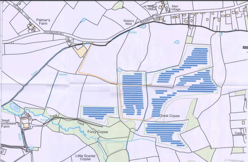 One of the fields where the solar farm will be located in land south of Rockbeare Hill, Marsh Green, in East Devon. Image shown to the EDDC Planning Committee