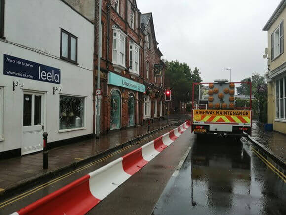 The temporary measures which have been installed in Magdalen Road, Exeter, Image: Devon County Council