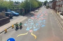 The road-calming dragon outside St Michael's Church of England Primary Academy in Exeter. Picture: Devon County Council