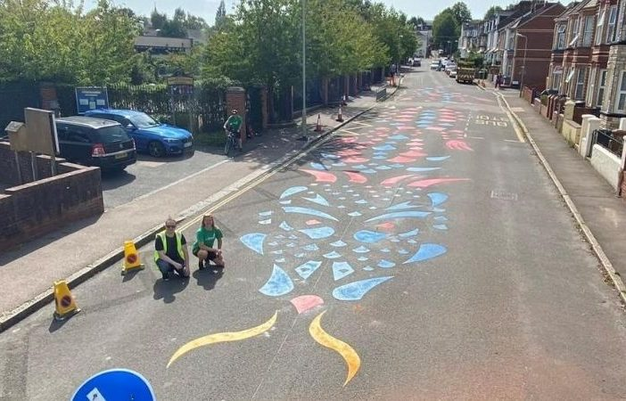The road-calming dragon outside St Michael's Church of England Primary Academy in Exeter. Picture: Devon County Council Sidmouth