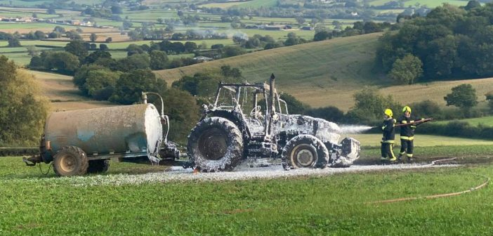 Seaton and Colyton fire crews tackle accidental tractor blaze in Whitford