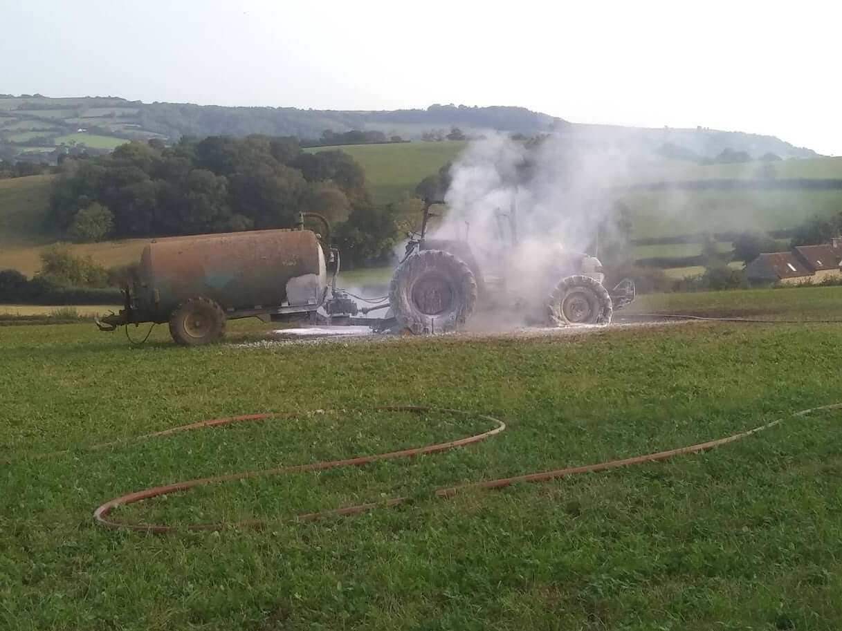The aftermath of the tractor blaze in Whitford. Picture: Colyton Fire Station