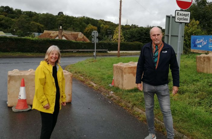 Councillors Yvonne Atkinson and Stuart Hughes at Doctors Walk in Exeter. Picture: Devon County Council