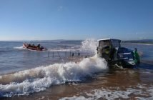 The Exmouth inshore lifeboat launches to the incident. Image: Exmouth RNLI