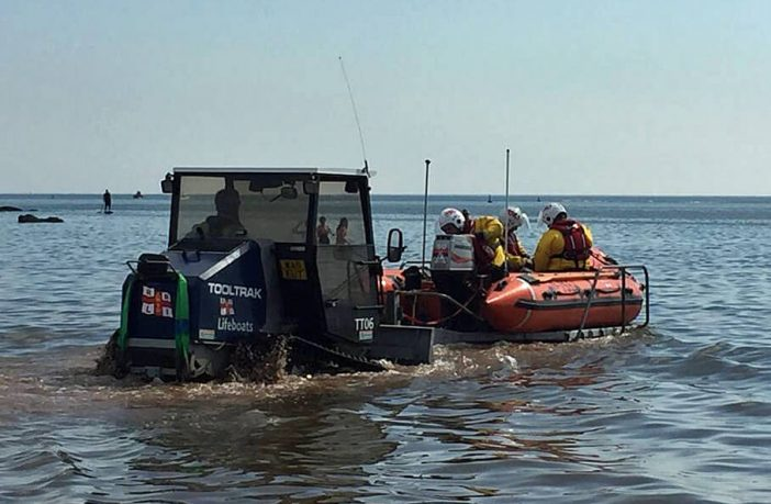 The Exmouth inshore lifeboat launches to the rescue. Picture: Exmouth RNLI