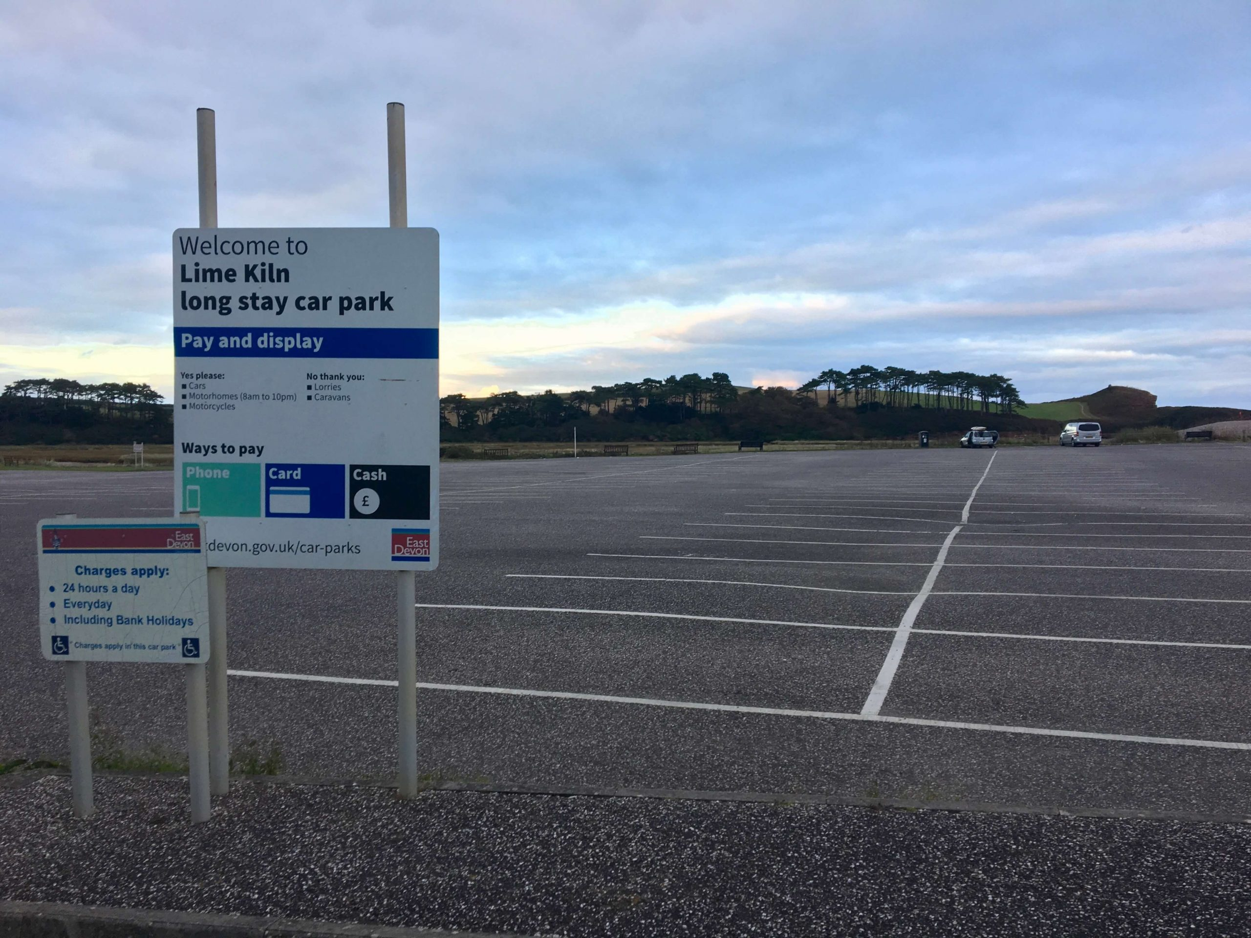 The Lime Kiln car park in Budleigh Salterton.