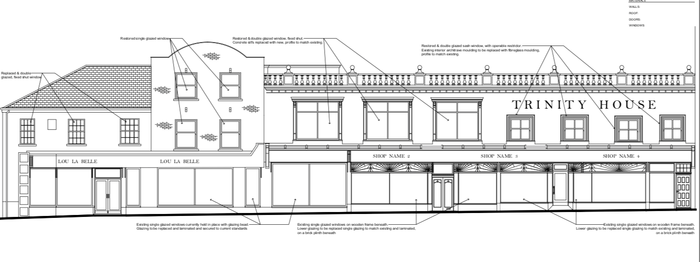 Plans for Trinity House in Axminster. Image From the planning application/ NDM Collins Architects