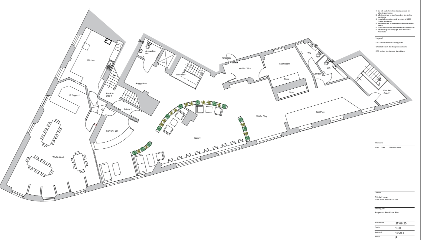 Proposals for the first-floor of Trinity House in Axminster. Image From the planning application/ NDM Collins Architects