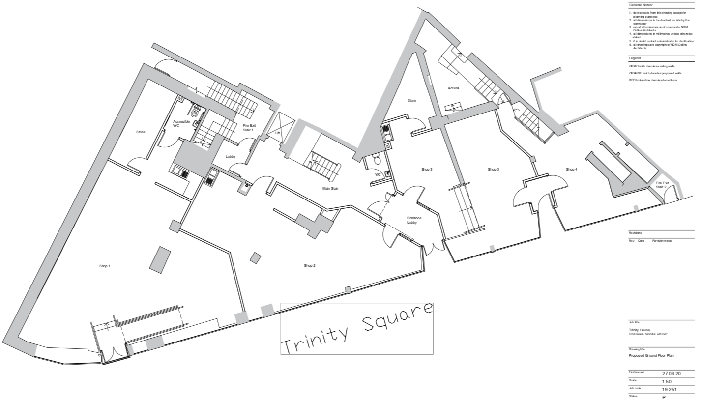 Proposals for the ground-floor of Trinity House in Axminster. Image From the planning application/ NDM Collins Architects