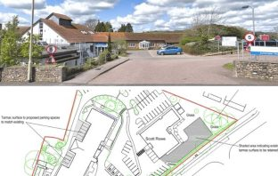 Top - Axminster Hospital in Chard Road. Image: Google Maps. Bottom - from the planning application. Image: RHM Planning and Design Services