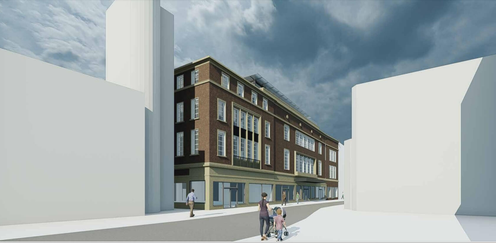 A new artist's impression of proposals for the former House of Fraser site in Exeter. Image from the planning application