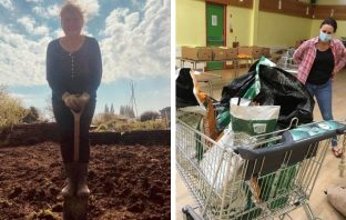 Left, Kathy Northcott at her Exeter allotment. Right, the donated potatoes. Pictures: Exeter City Council