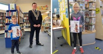 Double celebration as young readers Henry and Isobel achieve Book Track awards at Budleigh Library