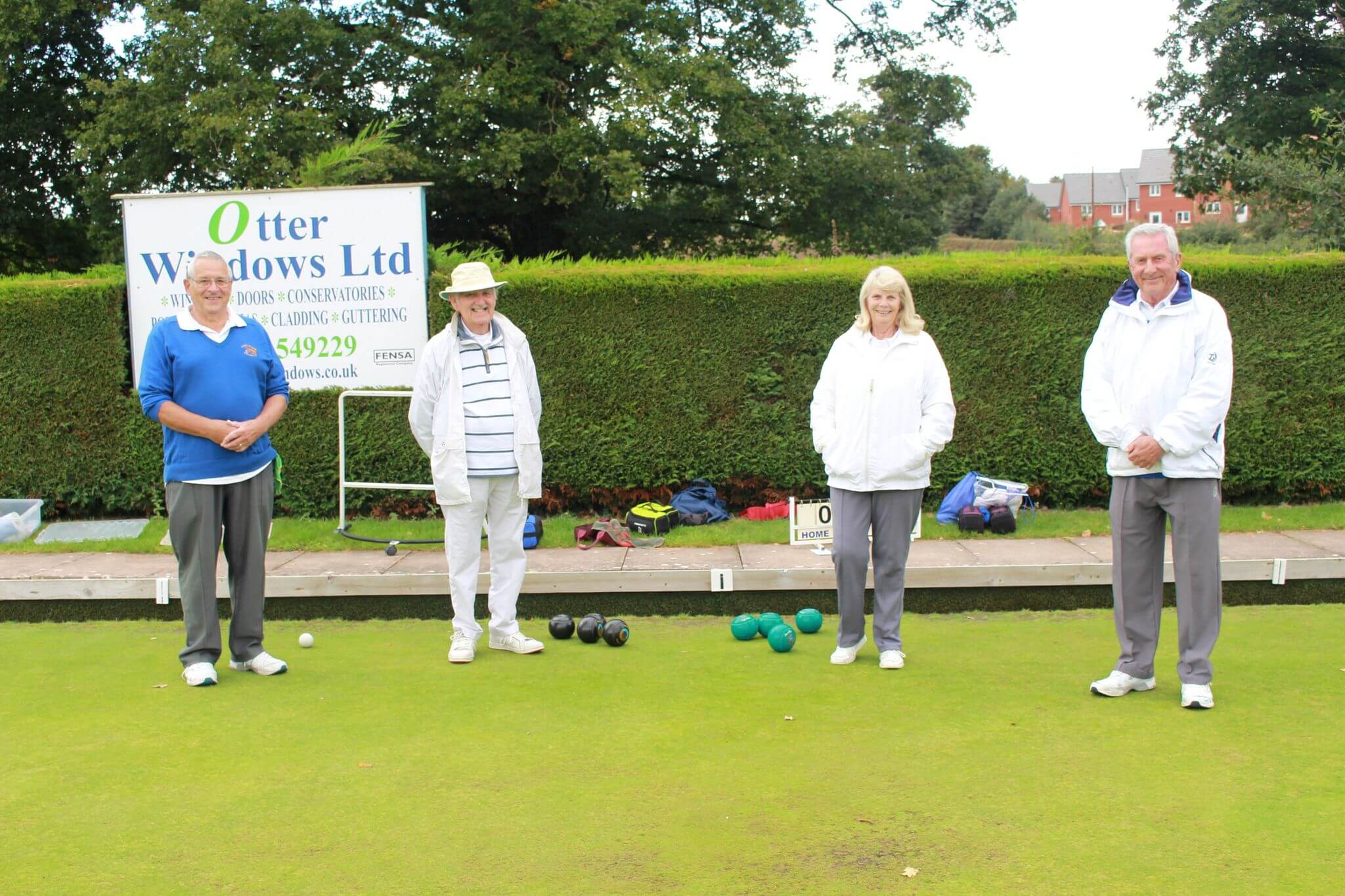Ottery St Mary bowlers Richard Bland, George Hutchinson, Dot Luff and Mike Kelsey ahead of their pairs semi-final. Picture: Ottery Bowling Club