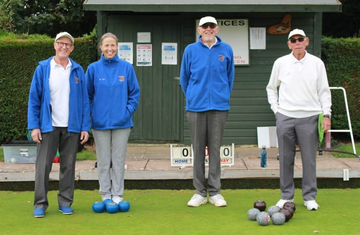 Ottery bowlers Paul and Sue Coles together with Leighton Burston and Tony Bushel ahead of their semi-final. Picture: Ottery Bowling Club