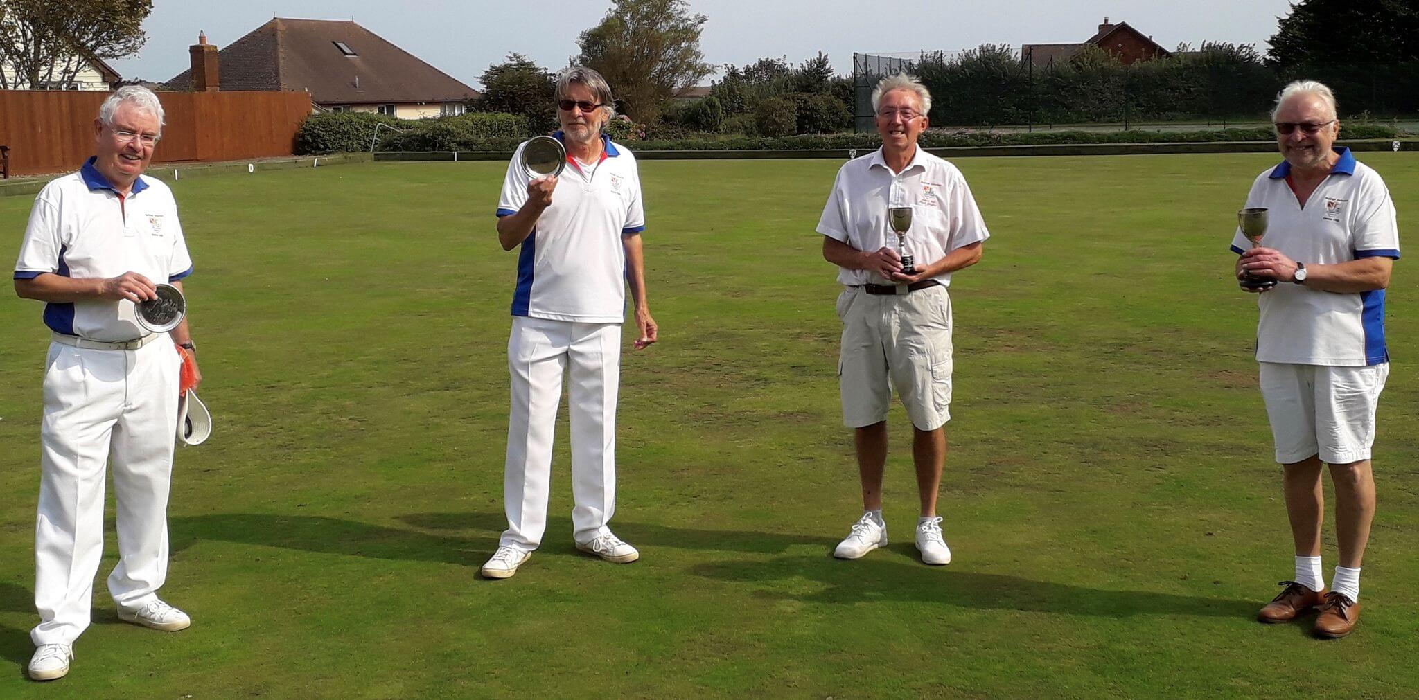Men's Pairs Final at Budleigh - Brian Ward and David Roberts (runners-up), with Paul Griffin and Peter Foreman (winners). Picture: David Roberts