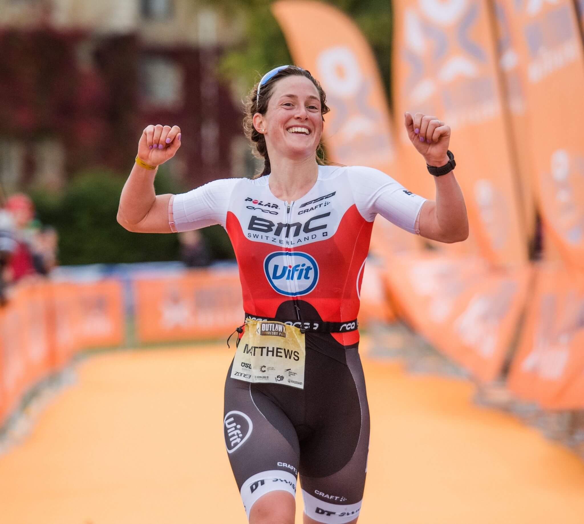 Exmouth: Katrina Matthews winning the 2020 Ironman 70.3 Tallinn triathlon in Estonia. Picture: Ian Baker