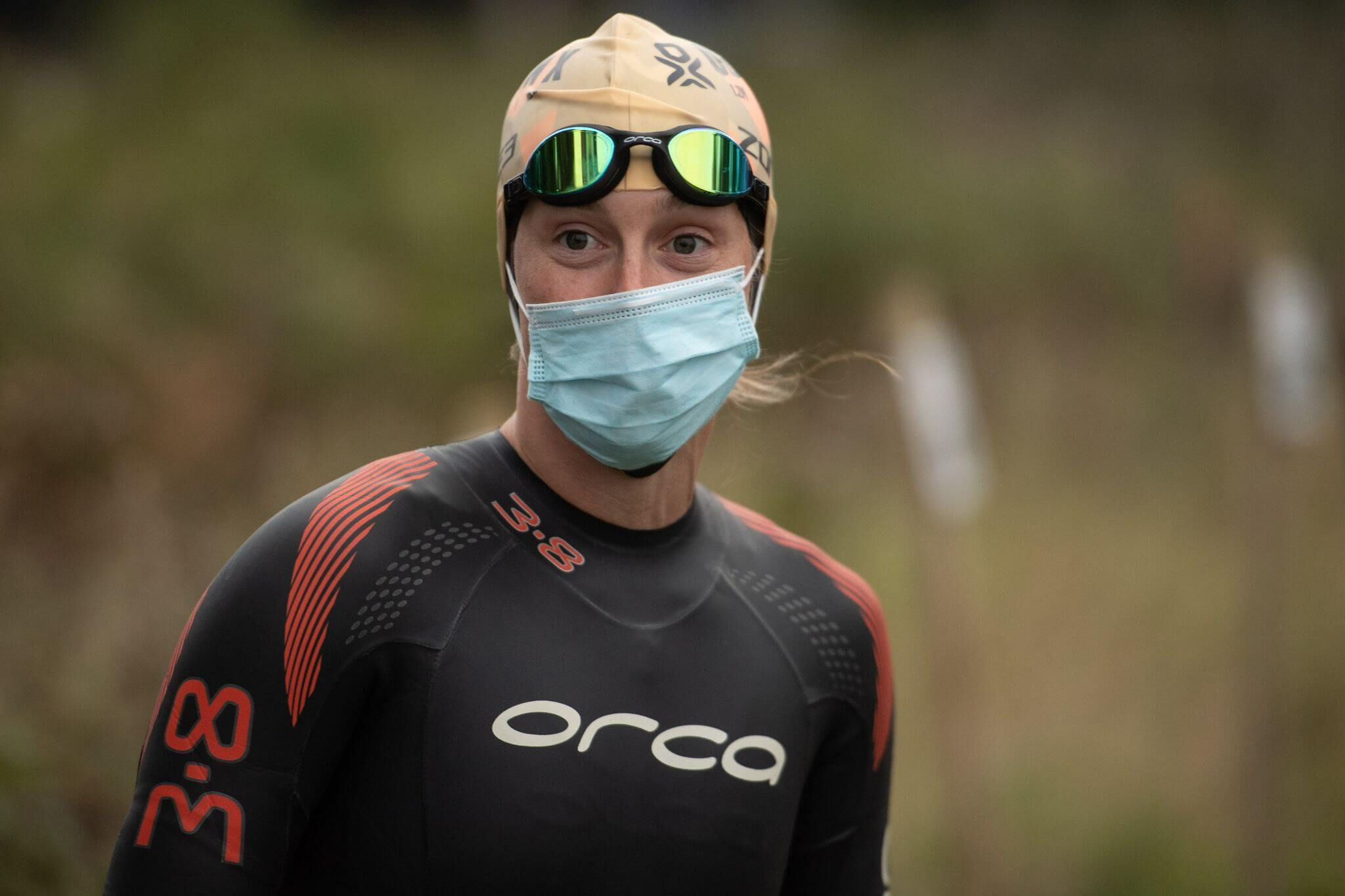 Exmouth: Katrina Matthews before the Outlaw X swim, complete with wet suit and mask. Picture: @KMTri_Coaching