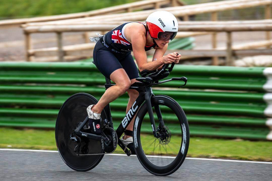Exmouth Katrina Matthews in GBR trisuit during the cycling element of the Outlaw Triathlon. Picture: @KMTri_Coaching