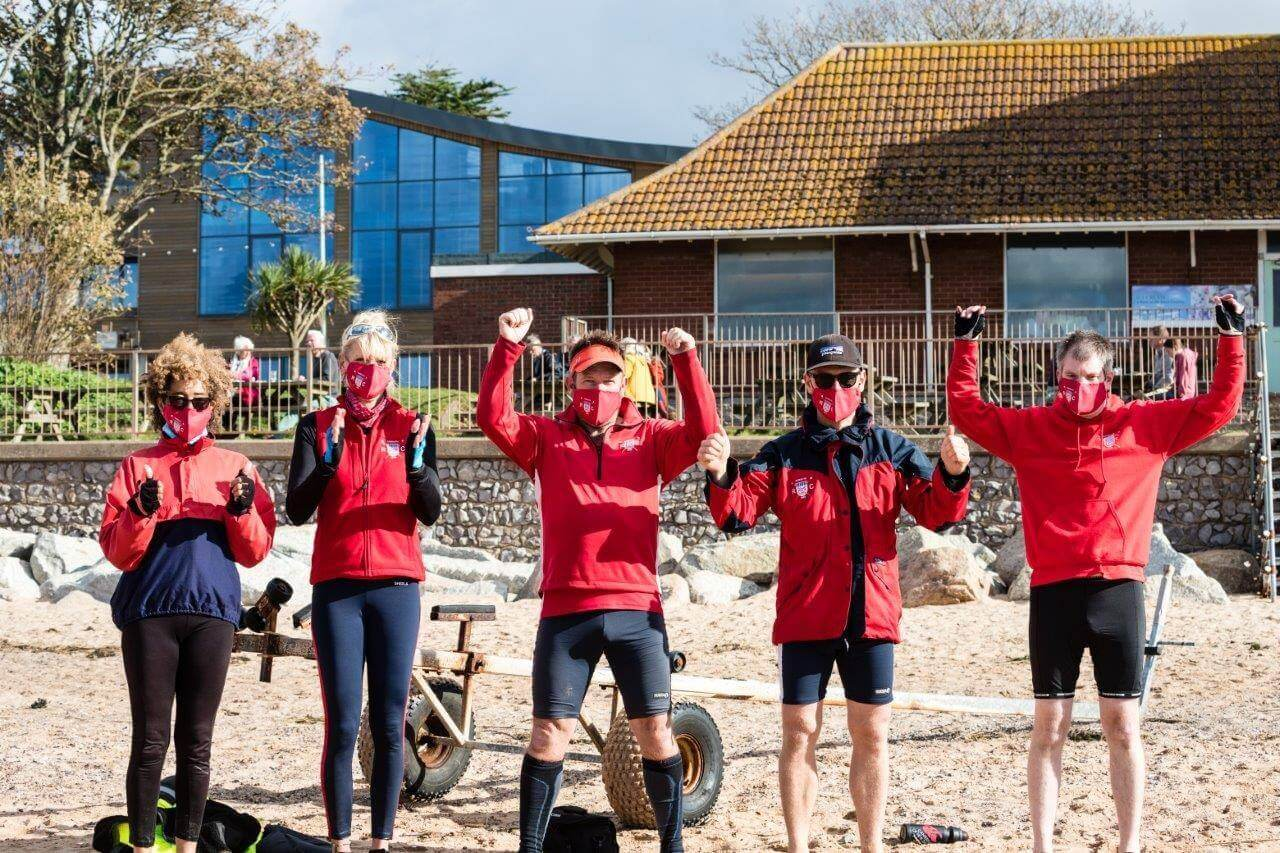 The winning team of the Covid-complaint challenge at Exmouth Rowing Club. Picture: Les Norcliffe