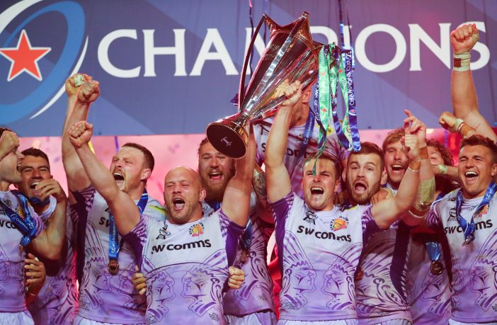 Exeter Chiefs lift the Heineken Champions Cup at Ashton Gate in Bristol. Picture: ©INPHO/James Crombie