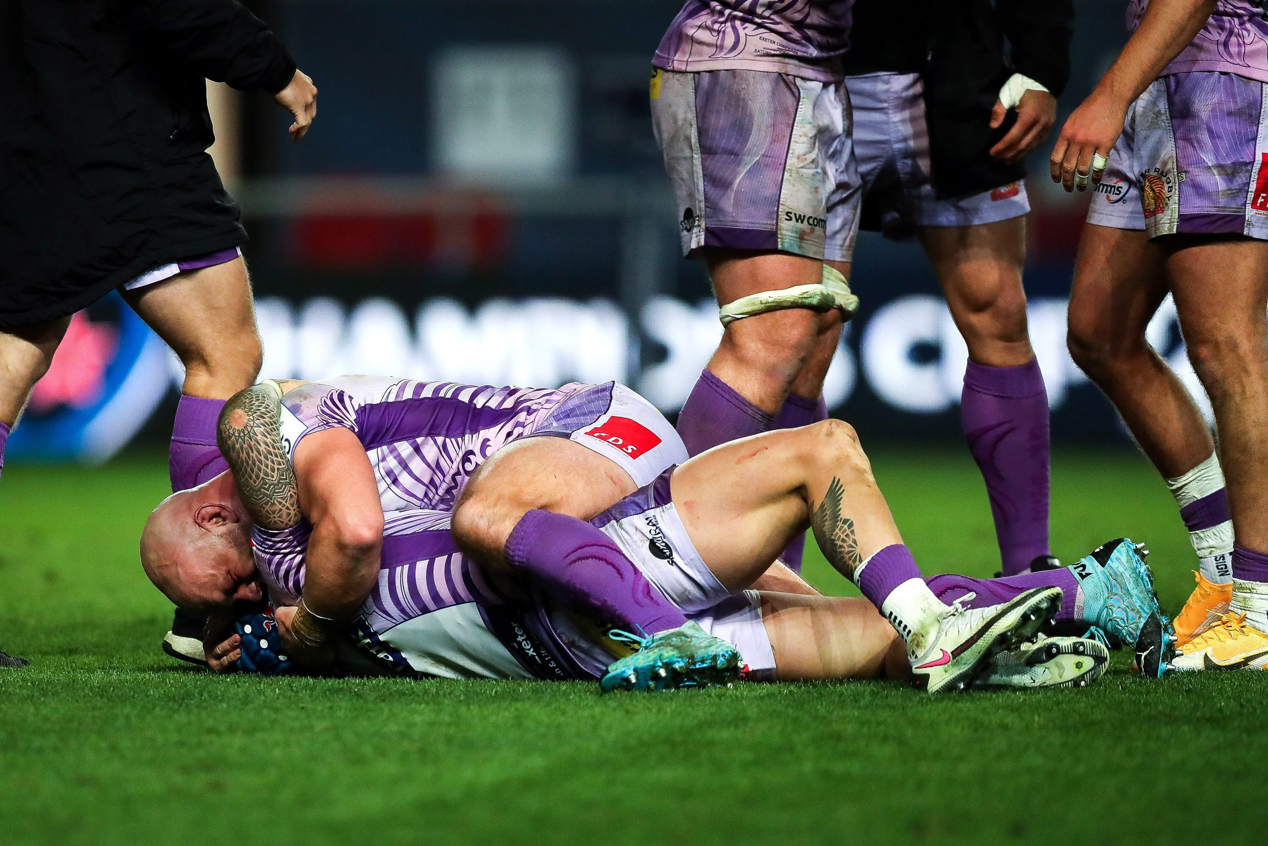 Jack Nowell celebrates with Jack Yeandle after the game. Picture: ©INPHO/Ryan Hiscott