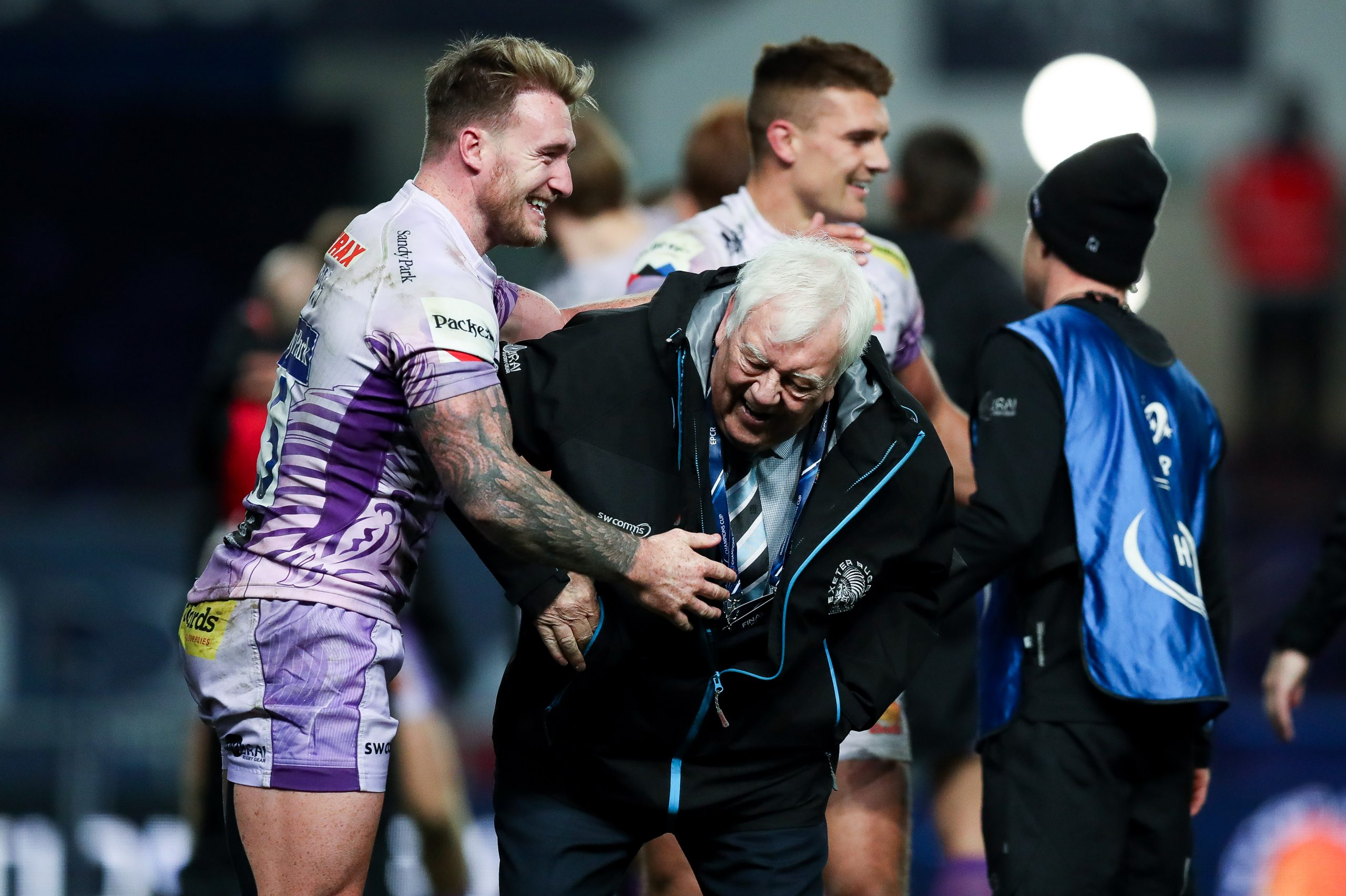 Stuart Hogg and Tony Rowe, chief executive and chairman of Exeter Rugby Club, celebrate. Picture: ©INPHO/Rogan Thomson