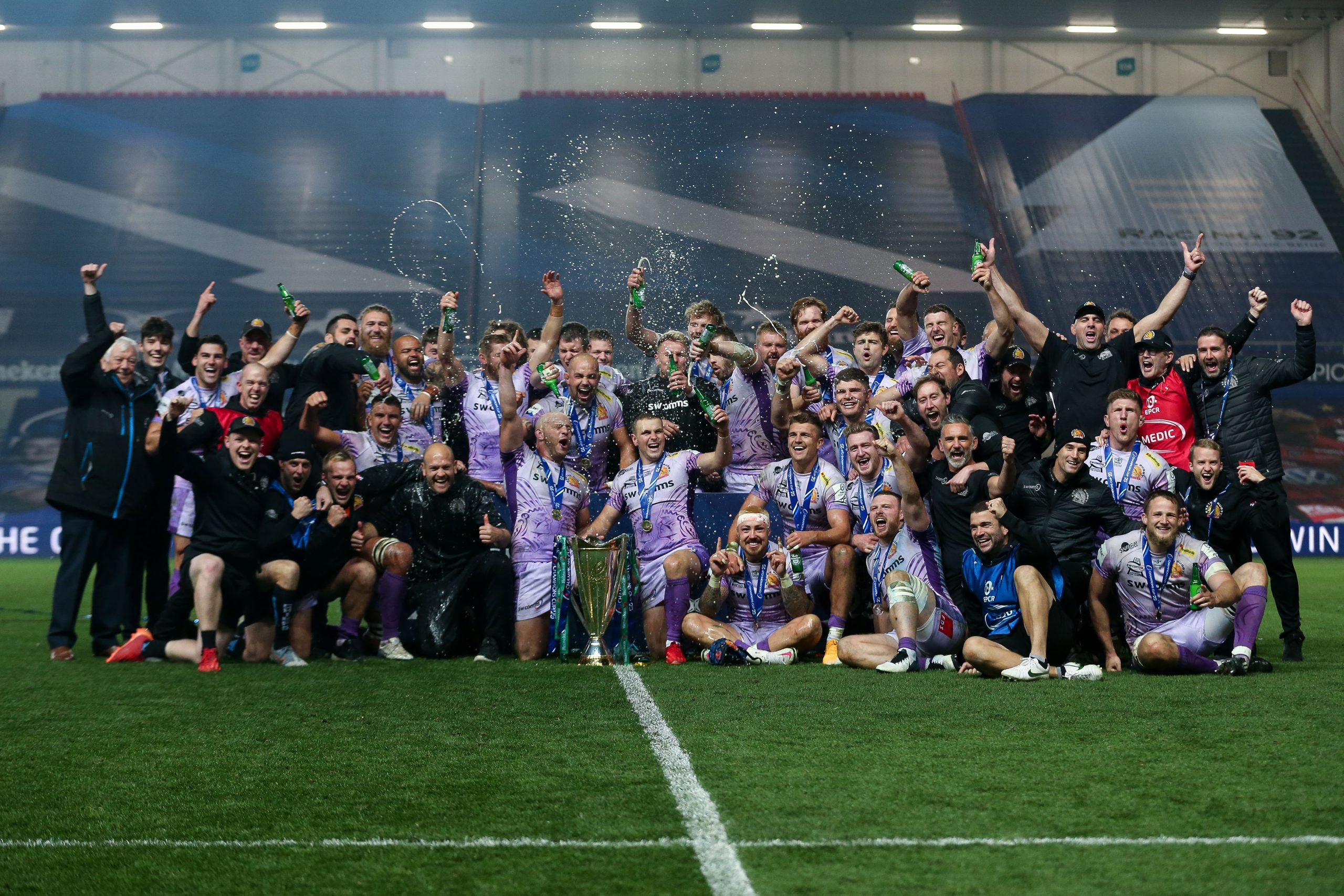 Exeter Chiefs players and staff celebrate winning. Picture: ©INPHO/Ryan Hiscott