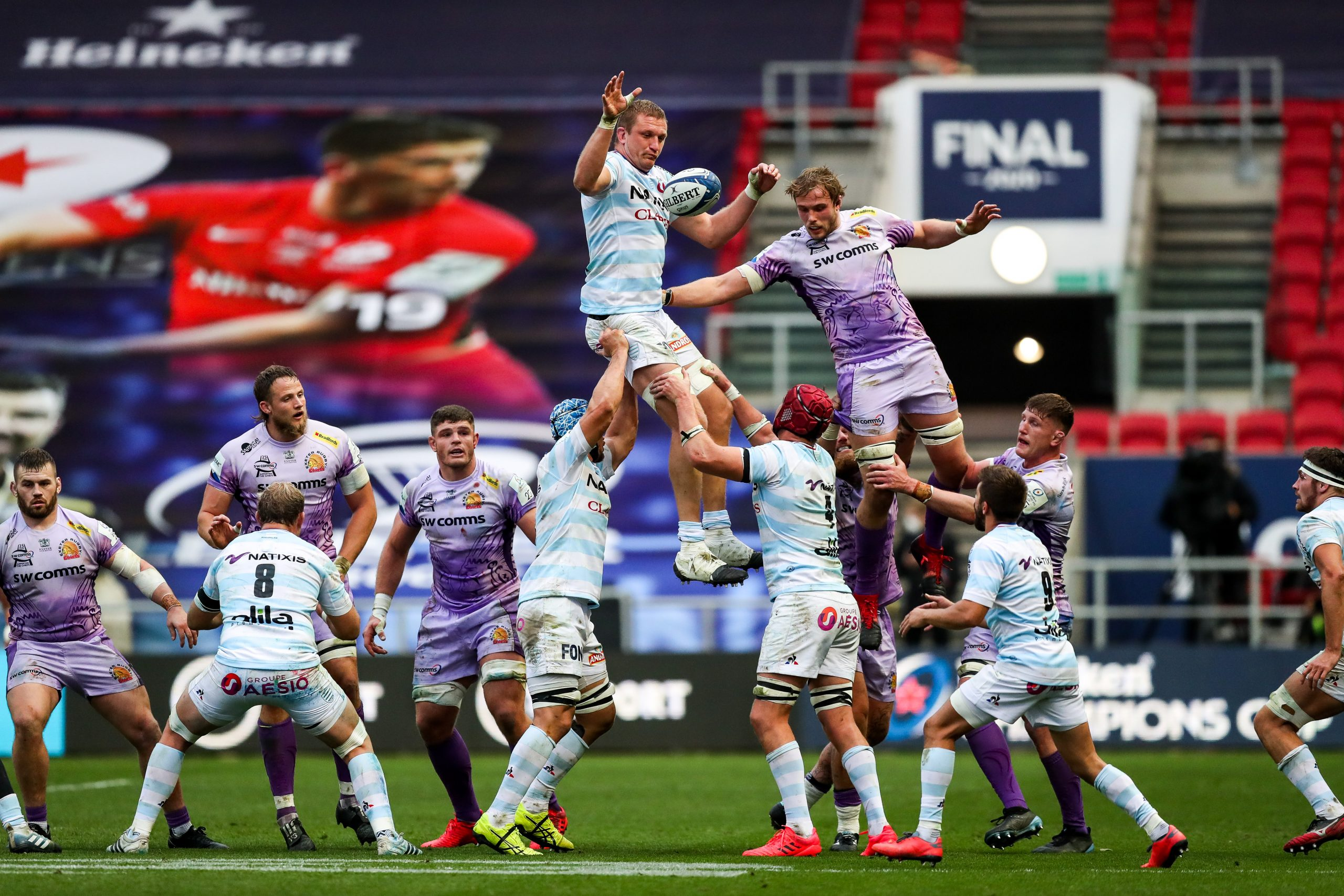 Racing's Dominic Bird wins a line-out. Picture: ©INPHO/Rogan Thomson