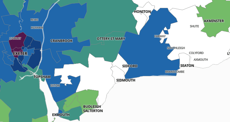 East Devon Exeter. The Government's online map showing the 'clusters' of coronavirus cases Exeter and East Devon.