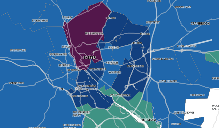 The Government's online map showing the 'clusters' of coronavirus cases in Exeter. East Devon
