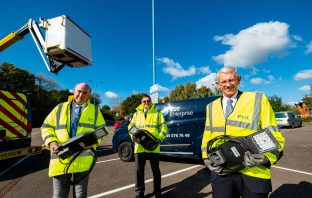 (l-r) Councillor Stuart Hughes, cabinet member for highway management, Chris Cranston, Devon County Council highway operations and communications manager, and Andy O'Connor, director of lighting Services at SSE. Picture: Stuart Nicol Photography