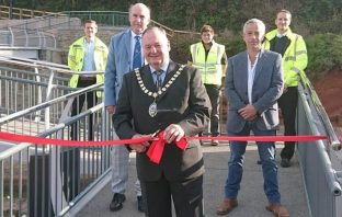 Dignitaries at the official opening of the new Alma Bridge in Sidmouth. picture: Devon County Council