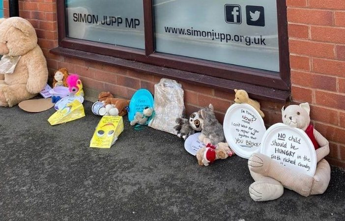 The peaceful protest of teddies and paper plates outside East Devon MP Simon Jupp's constituency office in Exmouth. Picture: Rosie Johnson