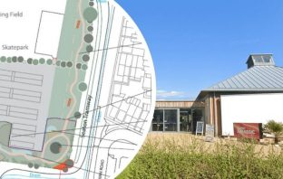 Seaton Jurassic 'phase two' plans. Image, left: East Devon District Council. Image, right: Google Maps