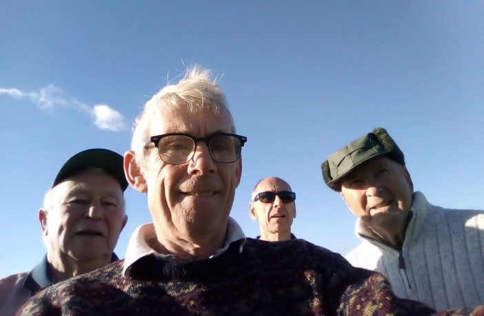 Four Axe Cliff seniors at the ninth green while enjoying a round of golf ahead of lockdown (l-r) Dave Bruce, Dave Morgan, Mark Wisby and Geoff Hughes. Picture: Dave Bruce