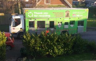 An East Devon District Council recycling lorry in in Sidford. Image: Daniel Clark