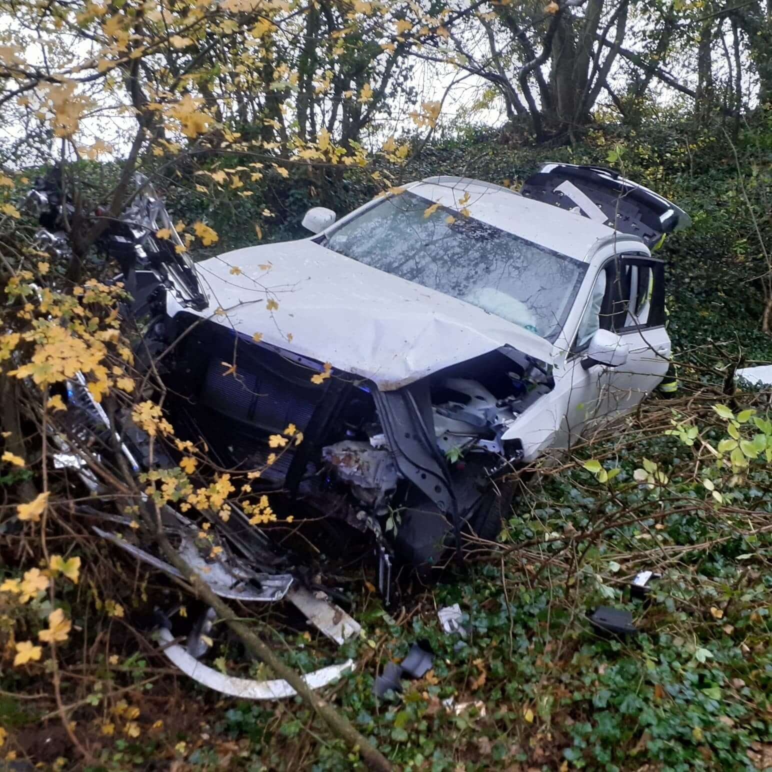 The wreckage of the vehicle which led the road at Boshill Cross, Axmouth. Picture: Colyton Fire Station
