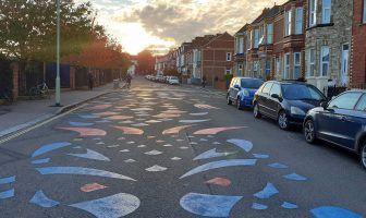 A colourful 'dragon' design spanning the road outside St Michael's Church of England Primary Academy, in Heavitree, Exeter, aims to slow traffic and protect walkers and cyclists. Picture: Devon County Council