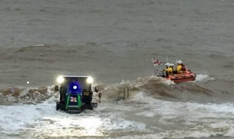 Stock photo - Exmouth all-weather lifeboat launching. Image: Exmouth RNLI