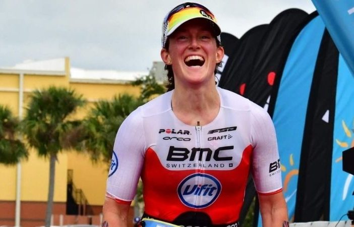 Katrina Matthews, from Exmouth, passes the finishing line of the run element at Ironman Florida. Picture: KMTriCoaching