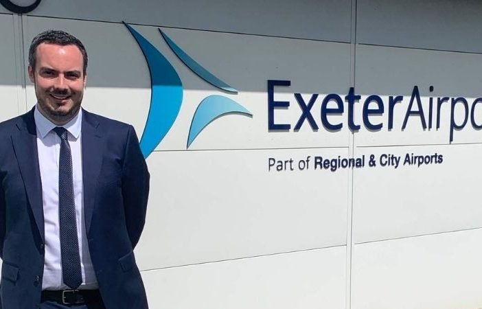 East Devon MP Simon Jupp at Exeter Airport.