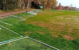 Barriers protecting revamped football pitches in Pinhoe, Exeter, were boded over. Picture: Exeter City Council