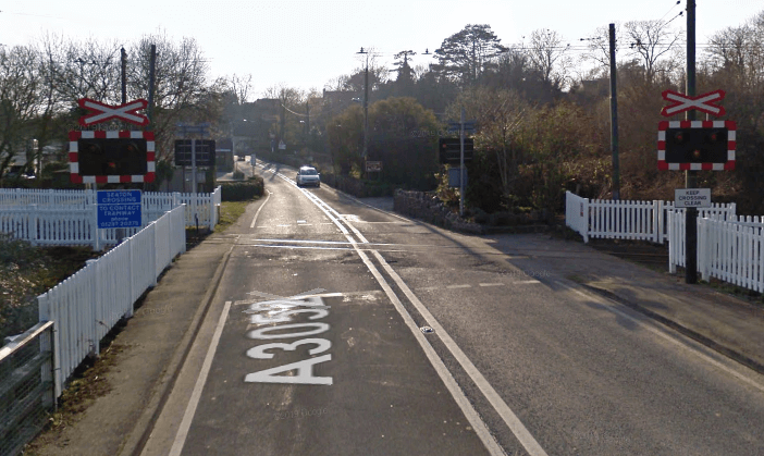 The Seaton Tramway level crossing on the A3052 at Colyford in East Devon. Image: Google Maps