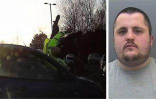 Right - Damien Price has been jailed for six-and-a-half years. Left - the shocking moment PS Alex Howden is hit by the offender's car at Sainsbury's in Pinhoe, Exeter.