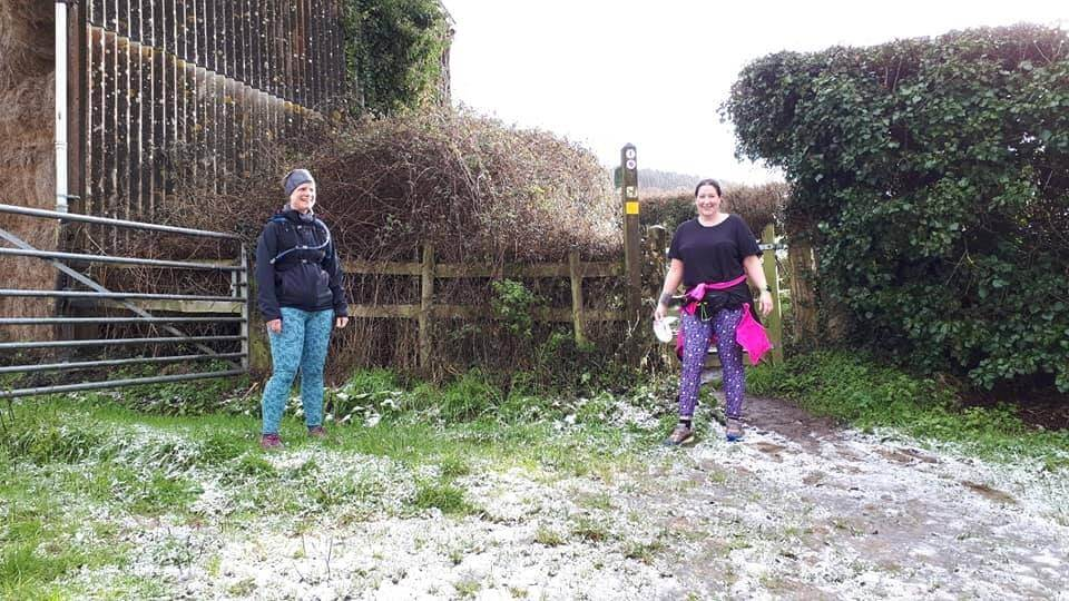 Sidmouth Running Club members Tracy Scannell and Beccy Johnson during a recent run