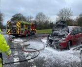 Ottery St Mary firefighters tackle car blaze in Whimple